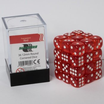 ADC Blackfire Entertainment 91692 Blackfire Würfel Box 12mm D6 36 Dice Set Transparent Rot