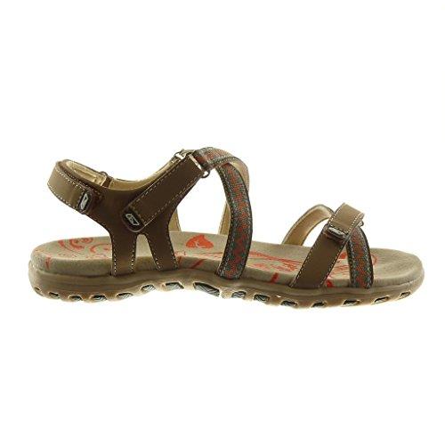 Angkorly Damen Schuhe Sandalen - Knöchelriemen - Sneaker Sohle - Bicolor - Multi-Zaum Flache Ferse 2.5 cm Beige 2