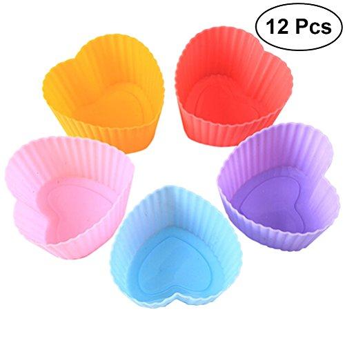 bestonzon 12Silikon Muffin Backförmchen Herz Form- und Cupcake Formen stapelbar Seife Formen (zufällige Farbe) Heart Shaped Cookie Pan