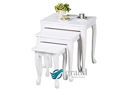 Oregon Contemporary White High Gloss Wooden Nest of 3 Tables Side Lamp Coffee Table Furniture - low-cost UK light shop.