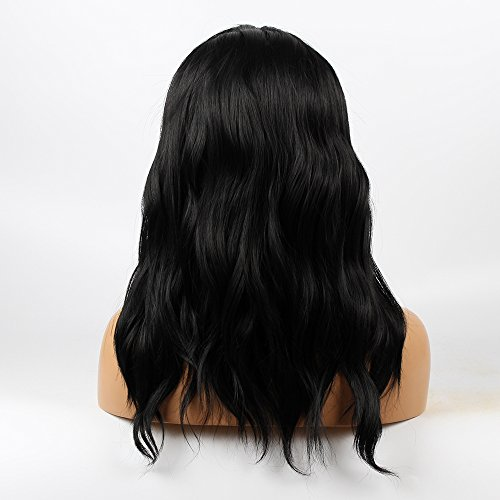 Life Diaries NO TANGLE Kanekalon Short Bob Wavy Wig High Density Heat Resistant Fiber Bleached Knot Glueless Large Part Space Lace Front Synthetic Wig For Girls And Women Nature Black 16 inch