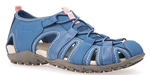 Geox D7125U Donna Sportliche Damen Sandale, Trekking Sandale, Outdoorsandale, Funktionssandale mit Gummizugverschluss und Geschlossener Zehenkappe Blau (Denim), EU 40 (Sportliche Denim-sandalen)