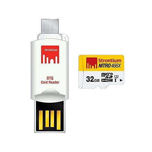 Strontium SRN32GTFU1T Nitro 466X 32GB microSDHC UHS-1 Memory Card mit OTG Reader