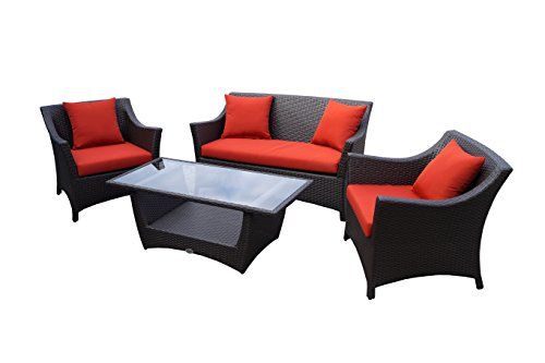 AuBergewohnlich Rattan Lounge Set   Polyrattan Gartenmöbel Garnitur Sofa U2013 Sitzgruppe Mit  Hoher Lehne   Braun
