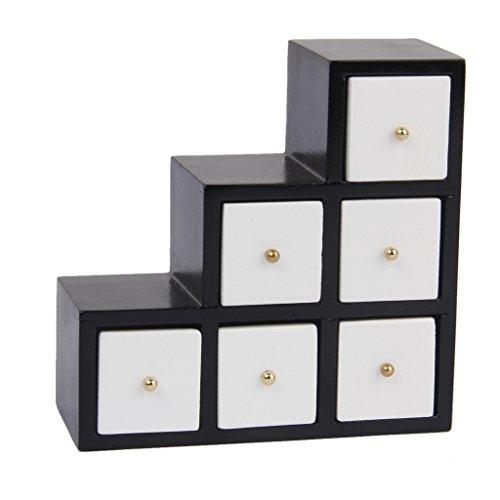 12.01 Puppenhaus Miniatur-Möbel Holz Weiß Schritt Schrank 3-Tier Veranstalter -