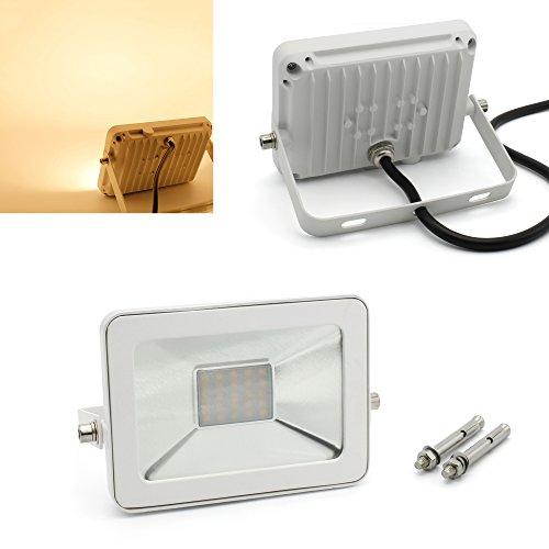 BAODE[Upgrade] LED Flutlichtstrahler 10W Warmweiß 3000K mit Dehnschrauben 1000lm, ersetzt 60W Leuchtstoffröhre, Ultraslim LED Scheinwerfer Strahler Baustrahler IP65 Wasserdicht Flutlicht