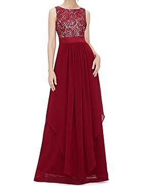 Verano Mujer Beachwear Elegante Colores Lisos Encaje Splicing Largo Vestidos de Coctel Partido Fiesta Fashion...