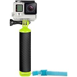 Ereach Perche de plongée étanche et antidérapante pour appareil photo avec vis moletée et dragonne de poignet réglable pour caméra GoPro Hero/6/5/4/3/2/1 Sessions, noir, argent, etc.