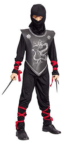 Costume Bambino Ninja 7/9 anni con armatura in EVA. Include maglia con cappuccio, pantalone, fasce per legare braccia e gambe. Armi non incluse.