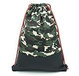 Traveller´s Garden Turnbeutel Hipster Army Camouflage, Sportbeutel für Damen und Herren aus hochwertiger Canvas-Baumwolle, Gym Bag, Gym Sack, Rucksack mit Innentasche, Extra-Fach, wasserabweisend