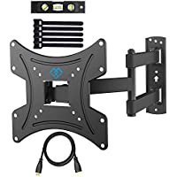 TV Wall Bracket, Swivels Tilts Extends TV Mount for 13-42inch LED, LCD, OLED, Plasma Flat&Curved TVs up to 35KG, Max VESA 200X200mm, Bubble Level, HDMI Cable and Cable Ties included (PSSFK1-E)