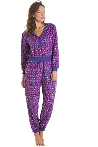 - 415kjeoq 2BcL - Camille Womens Ladies Supersoft Pink and Purple Print Hooded Onesie