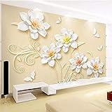 Apoart 3D Papier Peint Haute Qualité Nouveau Relief Chinois Intérieur Stéréo Fleur Franchise Tv Toile De Fond Salon Papier Peint350Cmx245Cm...