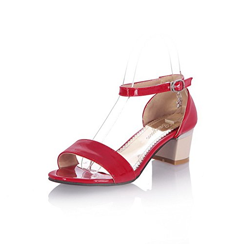 VogueZone009 Donna Luccichio Fibbia Punta Aperta Tacco Medio Heeled-Sandals Rosso
