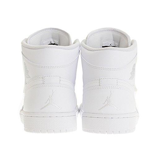 Nike Air Jordan 1 Mid, Baskets Basses Homme Multicolore (White/pure Platinum/white)