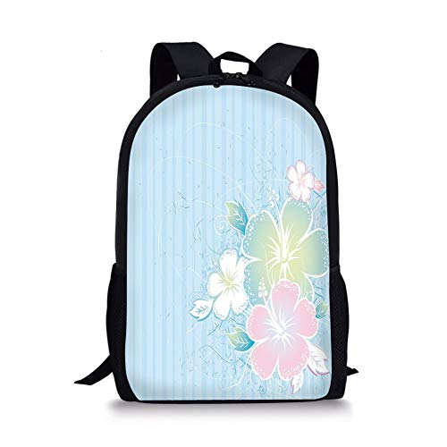 School Bags Flower,Bouquet of Hibiscus Flowers on Vertical Lined Background Soft Colored Print,Pale Blue Pale Pink for Boys&Girls Mens Sport Daypack -