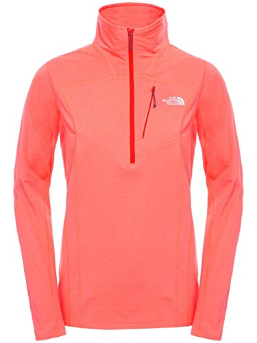 The North Face Damen W Infiesto 1/4 Zip Sweatshirt Orange Tropical Coral