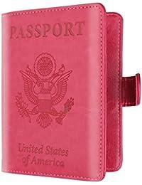 Fundas de pasaporte, Sannysis pasaporte cartera pasaporte juguete Protector Organizadores para maletas Estuche de portada de la tarjeta de identificación Paquete de pasaporte de antimagnético color sólido (Rosa caliente)