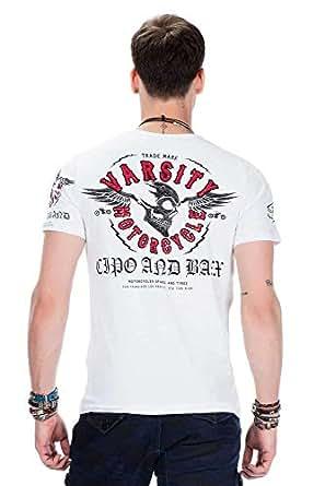 Cipo & Baxx T-Shirt Herren Slim Fit mit Rundhalsschnitt Kurzarm-Shirt Sommer