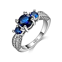 BESTPICKS 925 Sterling Silver Dark Blue Crystal Cubic Zirconia Engagement Party Ring Gift for Women