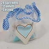 Sindy Bomboniere - Geschenk für Geburt/Taufe mit Süßigkeiten-Korb zum Basteln - Korb + 24 Süßigkeiten + himmelblaue Zuckermandeln