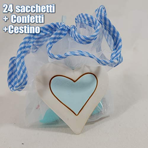 Sindy Bomboniere portaconfetti Sacchetti Nascita Battesimo Magnete Cuore con Cestino Fai da Te - Cestino + 24 Sacchetti + Confetti CRISPO Cioccolato Celeste + 24 magneti
