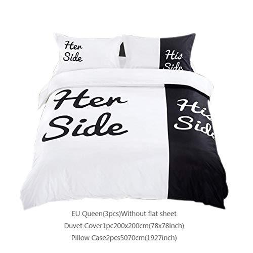 dizi248 3D Bettwäsche-Set, Bettbezug Lovelife His Side Her Side Bettwäsche, Baumwolle, 3D-Effekt, 1 Bettbezug + 2 Kissenbezüge, schwarz/weiß, EU Queen
