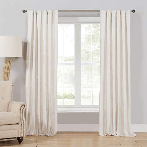 Home Maison Newbury Vorhang, Leinen, gestreift, 40 x 96, Beige (Leinen Vorhänge 96)
