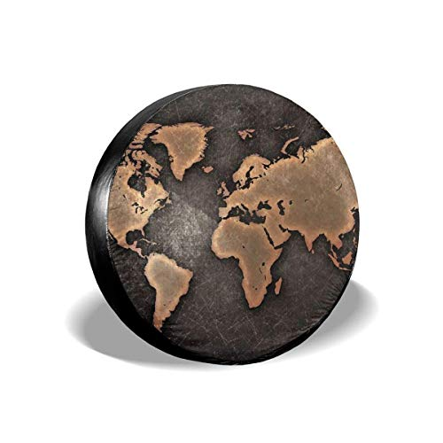 Kejbr Ruote Borsa per Pneumatici, Amazing World Map Polyester Universal Copricerchi Tyre Bag Fit for Jeep Trailer RV SUV And Various Vehicles Accessories(14,15,16,17 inch)