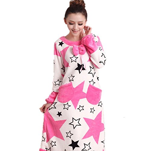 DMMSS Donne flanella Camicia da notte in autunno e inverno modo delle donne pigiama di spessore a maniche lunghe Camicie da notte Sleepwear , 3 , m
