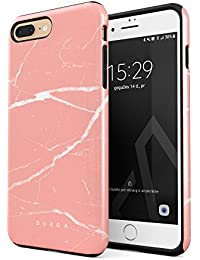 BURGA Hülle Kompatibel mit iPhone 7 Plus iPhone 8 Plus Pfirsich Marmor Pink Rosa Licht Farbig Bunt Marble Robustes Stoßfestes Doppellagiges Hardcase + Silikon Handyhülle Case Cover