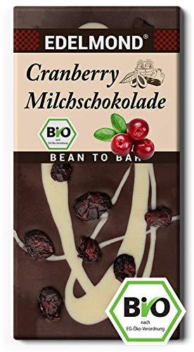 ilchschokolade Bio Cranberrys darin und darauf. Dekoriert mit weißer Schokolade. Die Geschenk-Idee aus Fair-Trade Kakao. (1 Tafel) ()