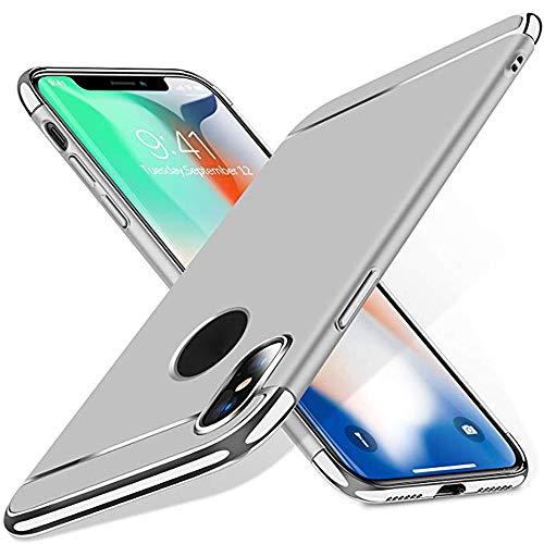 iPhone XR/XS /XS Max Hülle (6.1/5.8/6.5 Zoll), TPulling Luxus Dünne Galvanische Dreistufig Hart Hüllenabdeckung Fall für iPhone XR/XS /XS Max (Silber, XS MAX) (Iphone Hybrid-rüstung Fällen 6)