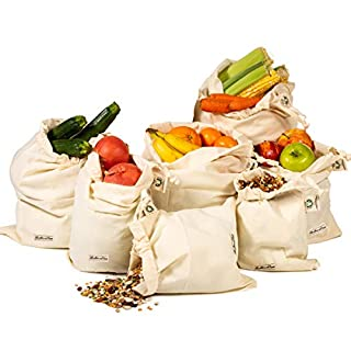 Reusable Organic Cotton Produce Vegetable, Cotton Muslin Produce Bags, Cotton Bread Bag, Reusable Veggie Bags, Large Muslin Produce Bag, (1, 1 XXL, L, M, S, XS and 2 of XL)