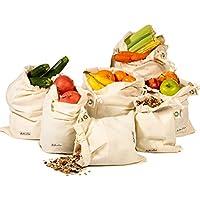 Sacs réutilisables - Sac en coton Ensemble de 7 (1 des XXL, L, M, S, XS et 2 de XL) Sac réutilisable en mousseline pour aller vert, zéro déchet, lavable en machine, léger, poids à vide, sac de légumes