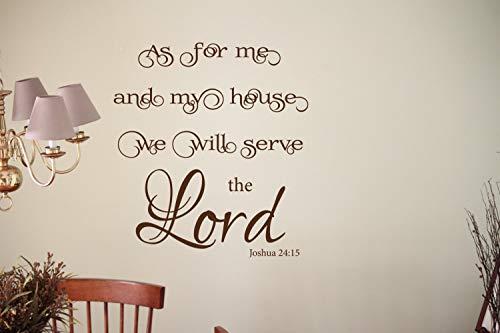 Dozili Wandtattoo As for Me and My House We Will Serve The Lord (englischsprachig), aus Vinyl, mit religiösem Zitat (englischsprachig), 55,9 x 50,8 cm