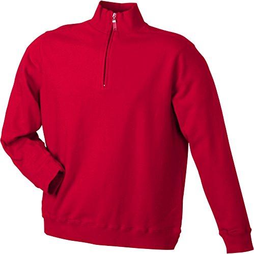 James & Nicholson Herren Round-Neck Zip Sweatshirt Rot (Red)