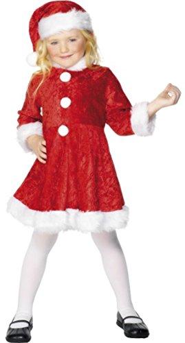 Mini Kostüm Santa Miss - ONLYuniform Mini Miss Santa Rot mit Weiß Rand Fancy Kleid Weihnachten Mädchen Kostüm