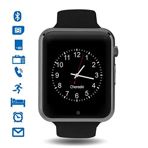 Smartwatch, CHEREEKI Bluetooth Smart Watch con Camera Orologio Intelligente con Macchina Fotografica SIM / TF Card Slot Schermo Touch Contapassi per Smartphone Android Samsung Huawei Honor HTC LG Sony (Nero-B)