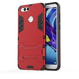 Honor 7X Funda , bdeals 2in1 Duro PC + Suave TPU High Absorción de Impacto [Kickstand] Armor Carcasa Case para Huawei Honor 7X - Rojo