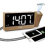 """MIZHMI réveils, horloges de Projection Horloge Radio numérique Affichage à LED Deux Ports de Charge USB Angle de luminosité réglable Réveil Fort au Chevet du projecteur sans Plafond (White, 1.8"""")"""