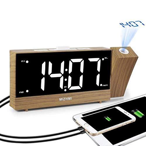 MIZHMI Projektionswecker,Radiowecker mit Projektion, LED Digital Wecker, 12H/24H,Reisewecker, Projektionsuhr, Snooze Timer Dual USB Kinder Wecker Bett Nicht Ticken Projektor Decke laut Wecker