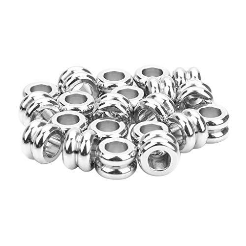 perfeclan 20 Stücke Silber Edelstahl Metallperlen Rund Kugel Spacer Beads Ketten Halskette DIY Silber