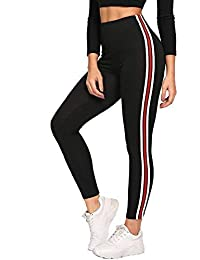 Helisha Ankle-Length Gym legging | Workout Trousers| Stretchable Striped Jeggings | High Waist Sports Yoga Track Pants for Girls & Women (FREE-SIZE) 28-32 waist Size