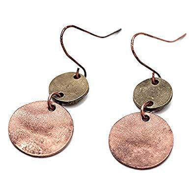SODIAL mujeres Europa cinc aleacion gota pendientes Vintage plata cobre doble ronda colgante collar pendientes joyas antiguas para fiesta (color cobre)