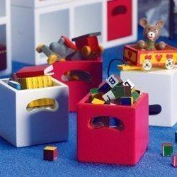 perDolls House 4 scatole (f). mensola rosso/bianco casa delle bambole 4226