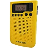 Sunstech RPDS10YL - Radio portátil digital (AM / FM PLL, altavoz, reloj, clip) color amarillo