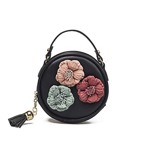 TIFIY Kinder Quaste Kreis-Form Floral Handtasche Schultertasche Mini Kuriertasche Schwarz