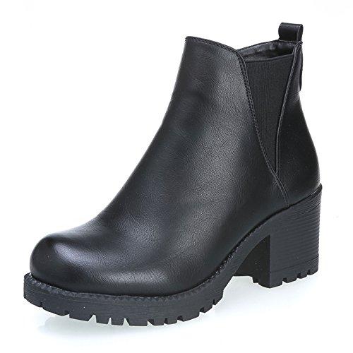 MForshop-scarpe-donna-stivaletto-tronchetto-eco-pelle-tacco-6-carrarmato-8207-40-Nero