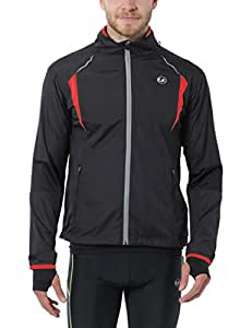 Ultrasport Herren Running-/Bikingjacke Stretch Delight, Schwarz/Rot, S, 40020